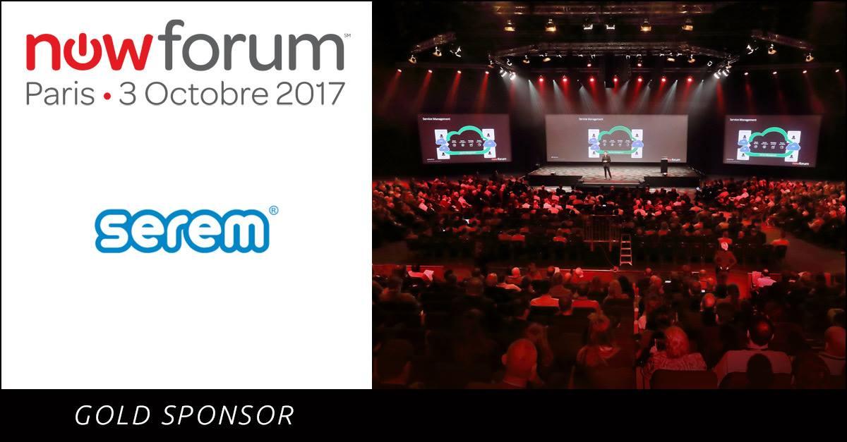 serem Gold Sponsor en ServiceNow NowForum París 2017